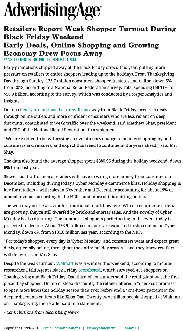 Retailers Report Weak Shopper Turnout During Black Friday Weekend